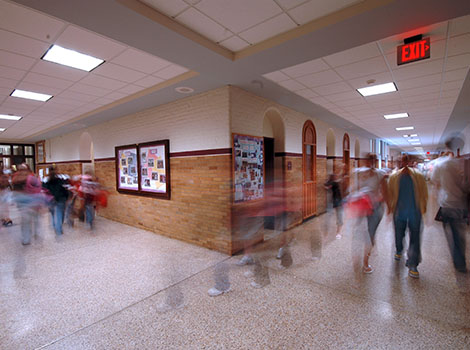 Hallway Blurry Students | GreenBee