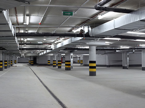 Parking Garage Lights Pipes Pillars | GreenBee