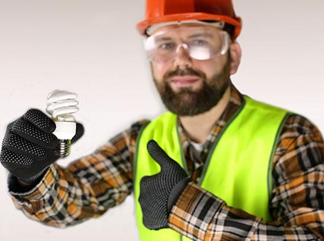 Electrician Light Bulb Thumbs Up   GreenBee
